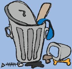 cartoon trash can, icon illustration