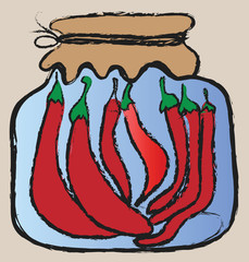 doodle grunge glass jar with red chili peppers, winter stores