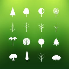 White tree icons clip-art on color background. Design elements