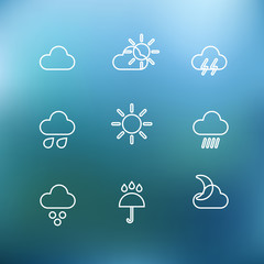 White forecast icons clip-art on color background