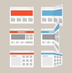 Different browser windows set. Design elements