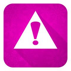 exclamation sign violet flat icon, warning sign, alert symbol