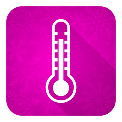 thermometer violet flat icon, christmas button, temperature sign