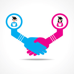 businessmen handshake between educated men and women