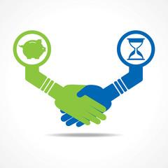 businessmen handshake between men having time and money