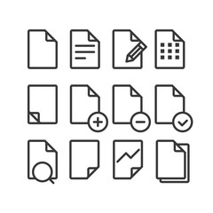 Different documents icons set with rounded corners. Design eleme