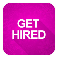 get hired violet flat icon, christmas button