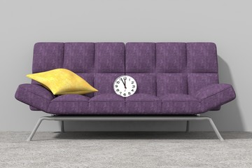 Arredo 3D divano ed orologio