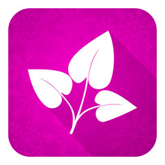 leaf violet flat icon, christmas button, nature sign