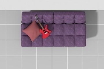 Arredo 3D divano e chitarra rossa