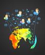 Abstract scheme of modern social network. Design elements