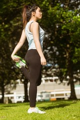 Healthy woman stretching leg in park