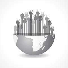 Grey raised hand on the half earth symbol stock vector