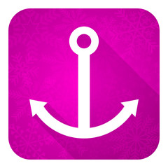 anchor violet flat icon, christmas button, sail sign