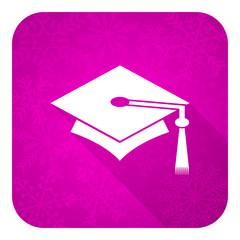 education violet flat icon, christmas button, graduation sign