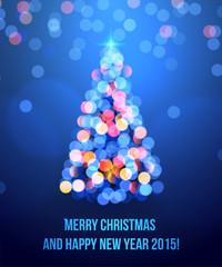 card with Christmas tree lights