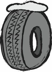 cartoon winter tires,  illustration
