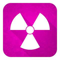 radiation violet flat icon, christmas button, atom sign