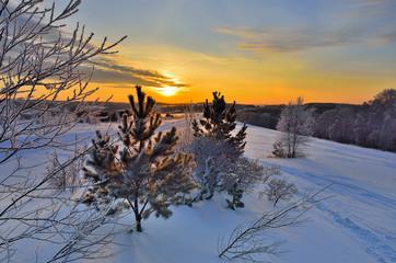 A beauty of winter rural  landscape
