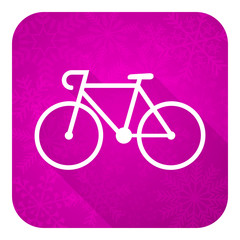 bicycle violet flat icon, christmas button, bike sign