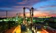 Leinwandbild Motiv Oil refinery at twilight