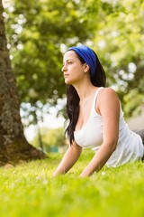Peaceful brunette doing yoga on grass