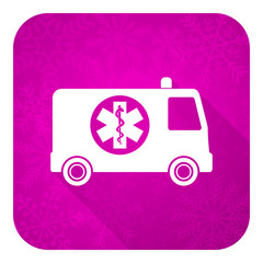 ambulance violet flat icon, christmas button