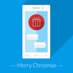 Christmas card. Thin icon on the smartphone's screen