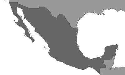 Mexiko - Karte in Grau