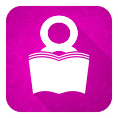 book violet flat icon, reading room sign, bookshop symbol