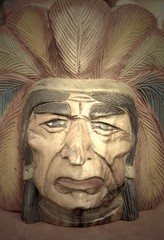 native american indian chief wood carving.