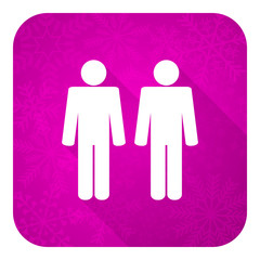 couple violet flat icon, people sign, team symbol