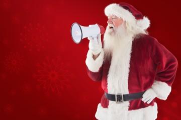 Composite image of santa claus is using a megaphone