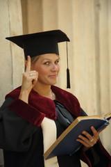 scientist woman over vintage background colonnade University