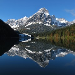 Autumn scene at lake Obersee, Swiss Alps