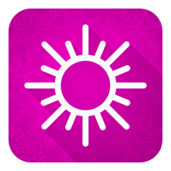 sun violet flat icon, christmas button, waether forecast sign
