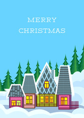 Small Colorful Winter Village At Merry Christmas Card