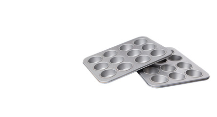 Cupcake tin pan over white background