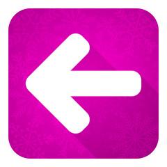 left arrow violet flat icon, christmas button, arrow sign