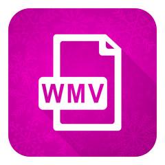 wmv file violet flat icon, christmas button