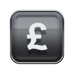 Pound icon glossy grey, isolated on white background