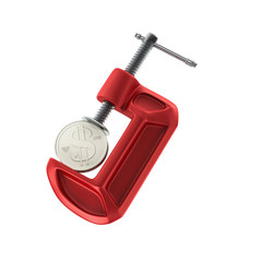 Dollar in a clamp.