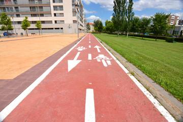 carril bici en la ciudad de logroño