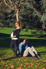 Pregnant couple posing