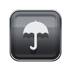 Umbrella icon glossy grey, isolated on white background