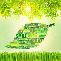 Family concept, family word cloud on green nature background