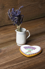 Gingerbread heart with lavender in a cup