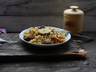 Плов, рис, мясо, чеснок