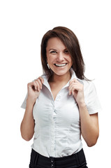 Attractive businesswoman laughing