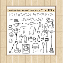 Vector set with hand drawn symbols of cleaning services